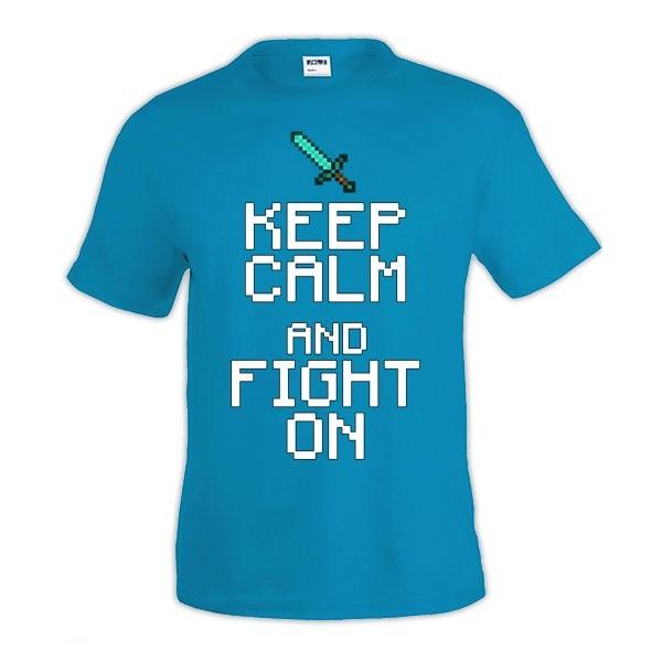Camiseta Minecraft Keep Calm fight on