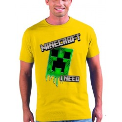 Camiseta Creeper - I Need Minecraft - manga corta