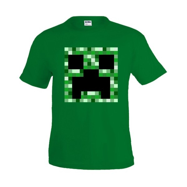 camiseta Minecraft Creeper Pixeles- Verde