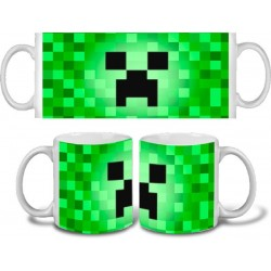 Taza Minecraft Creeper Pixelado