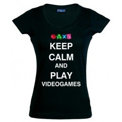 Camiseta Keep Calm and Play Videogames para chica