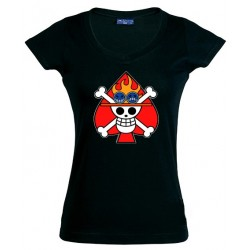 "Camiseta One Piece bandera ""Ace""- de chica"