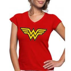 Camiseta Mujer Maravilla Logo - Manga Corta