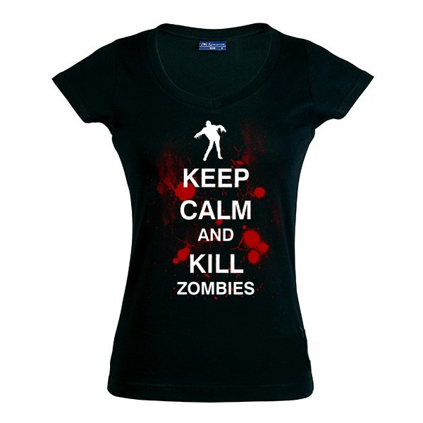 Camiseta Mujer Keep Calm and Kill Zombies
