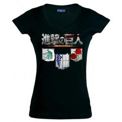 Camiseta El Ataque de los titanes de mujer - shingeki no kyojin 3 escudos