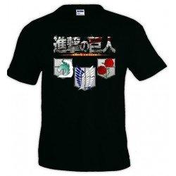 Camiseta El Ataque de los titanes Unisex - shingeki no kyojin 3 escudos