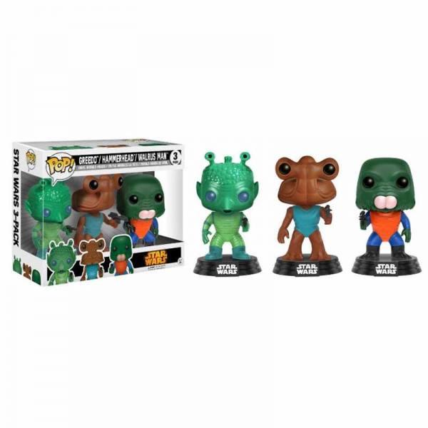 Pack Figuras Funko Pop Star Wars Greedo, Hammerhead y Walrus Man - Exclusivo