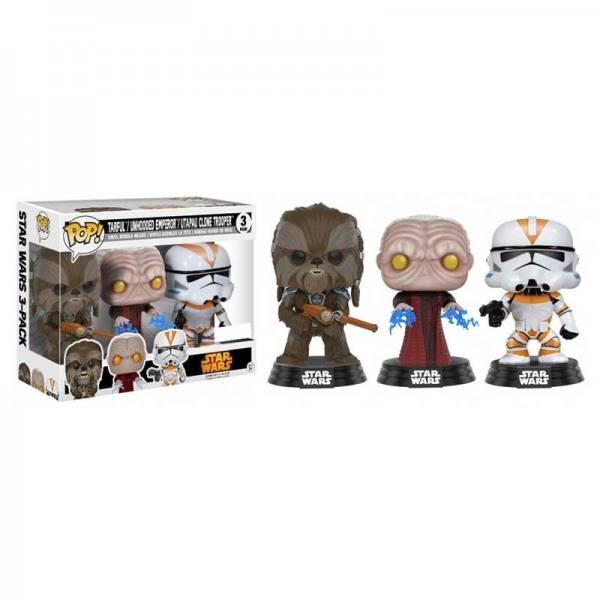 Pack Figuras Funko Pop Star Wars Tarfful, Unhooded Emperor, Utapau Clone Trooper - Exclusivo