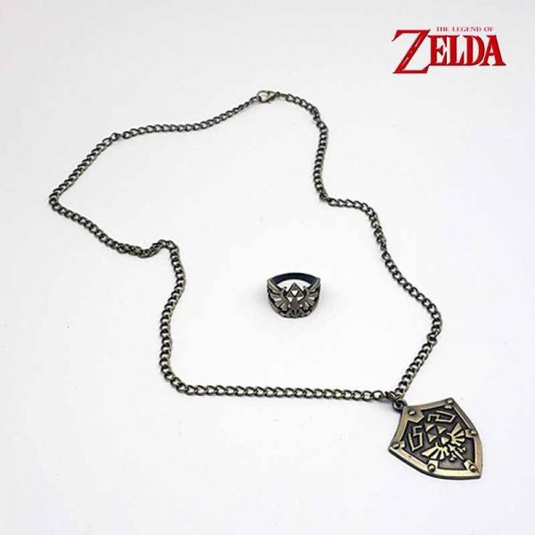 Set Legend of Zelda - Colgante y Anillo Escudo Hyliano