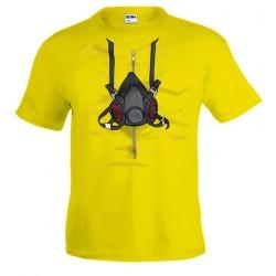 Camiseta Breaking Bad Heisenberg diseño máscara en manga corta amarilla